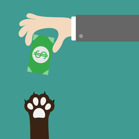 illustration of hand giving paw money